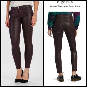 PAIGE Purple Coated Skinny Jeans Size 30